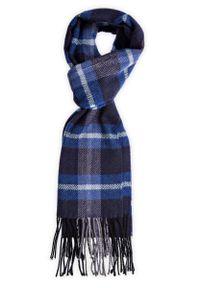 Niebieski szalik Lancerto w kolorowe wzory, elegancki, na zimę