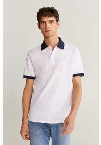 Biała koszulka polo Mango Man krótka, na co dzień