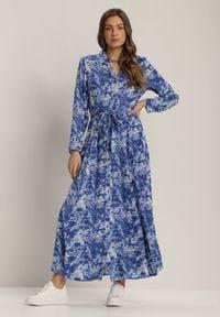 Renee - Granatowa Sukienka Silelphise. Kolor: niebieski. Materiał: materiał. Długość rękawa: długi rękaw. Typ sukienki: koszulowe. Długość: maxi
