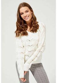 Sweter MOODO długi, z dekoltem w serek, z długim rękawem