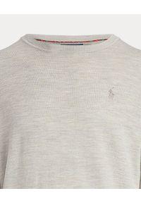 Ralph Lauren - RALPH LAUREN - Beżowy sweter z wełny merino. Typ kołnierza: polo. Kolor: beżowy. Materiał: wełna. Wzór: haft
