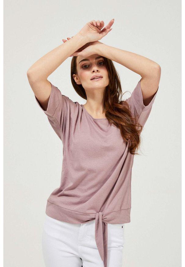 MOODO - Bluzka z lampasami. Materiał: bawełna, poliester. Długość rękawa: bez rękawów. Wzór: gładki