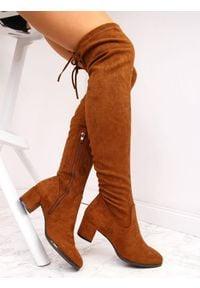 Kozaki damskie za kolano zamszowe camel Sergio Leone. Wysokość cholewki: za kolano. Materiał: zamsz