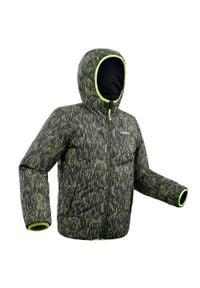 WEDZE - Kurtka narciarska WARM REVERSE 100 dla dzieci. Kolor: czarny. Materiał: materiał. Wzór: nadruk. Sport: narciarstwo