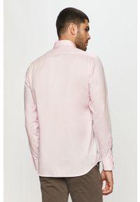 Różowa koszula Karl Lagerfeld długa, z włoskim kołnierzykiem, z długim rękawem, elegancka