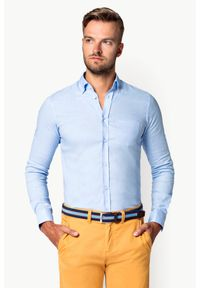 Lancerto - Koszula Błękitna Effie. Typ kołnierza: button down. Kolor: niebieski. Materiał: bawełna, len, tkanina, włókno. Długość: krótkie. Wzór: gładki. Sezon: lato