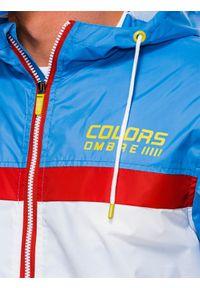 Biała kurtka Ombre Clothing na wiosnę, z kapturem, z nadrukiem