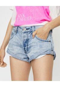 ONETEASPOON - Jeansowe spodenki Bandits. Stan: podwyższony. Kolor: niebieski. Materiał: jeans. Wzór: kolorowy, aplikacja. Sezon: lato. Styl: klasyczny