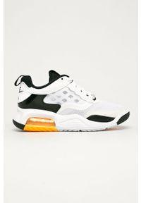 Białe buty sportowe Nike Kids na sznurówki, z okrągłym noskiem, z cholewką