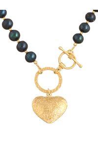 MOKOBELLE - Choker z ciemnych pereł z kołem i sercem. Materiał: srebrne, pozłacane, złote. Kolor: czarny. Kamień szlachetny: perła #3
