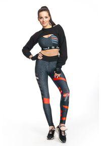 Legginsy sportowe FJ! w kolorowe wzory, z podwyższonym stanem