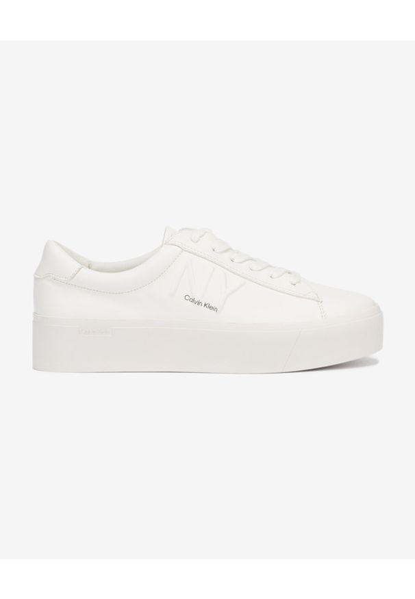 Białe tenisówki Calvin Klein w kolorowe wzory, z okrągłym noskiem