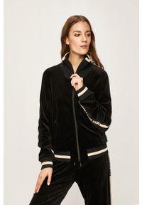 Czarna bluza rozpinana Miss Sixty z aplikacjami, casualowa, raglanowy rękaw, bez kaptura