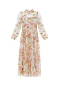 Beżowa sukienka na co dzień, elegancka, z nadrukiem, z falbankami