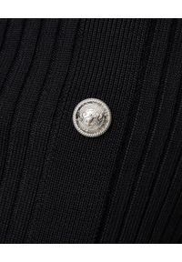 Balmain - BALMAIN - Czarna spódnica z guzikami. Stan: podwyższony. Kolor: czarny. Materiał: prążkowany. Wzór: aplikacja. Styl: elegancki