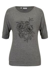"""Shirt """"nietoperz"""", rękawy do łokcia bonprix szary melanż w roślinny wzór. Kolor: szary. Wzór: melanż"""