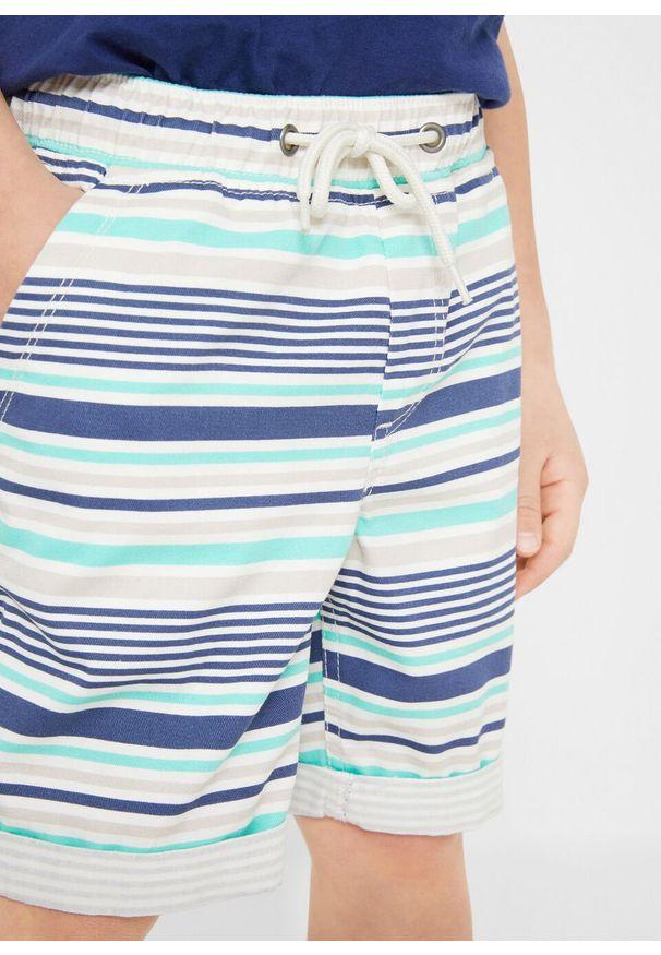 Niebieskie spodnie bonprix w paski, na lato