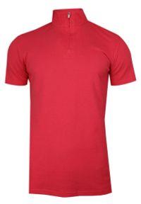 Różowy t-shirt Chiao z krótkim rękawem, krótki, ze stójką