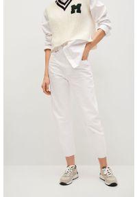 Białe jeansy loose fit mango z podwyższonym stanem
