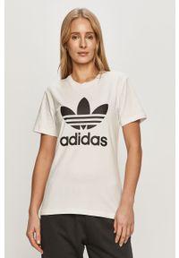 Biała bluzka adidas Originals casualowa, na co dzień, z nadrukiem