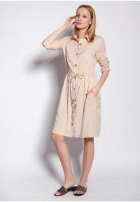 Lanti - Sukienka Koszulowa z Podpinanym Rękawem - Beżowa. Kolor: beżowy. Materiał: wiskoza. Typ sukienki: koszulowe