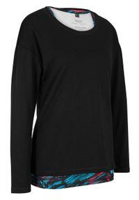 Czarna bluzka bonprix z długim rękawem, z nadrukiem, długa