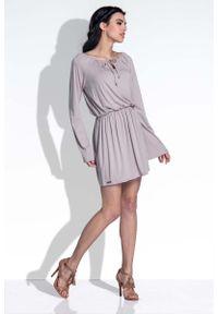 Fobya - Mocca Sukienka z Rozkloszowanymi Rękawami. Materiał: wiskoza, elastan