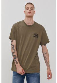 Lee - T-shirt. Kolor: zielony. Wzór: nadruk