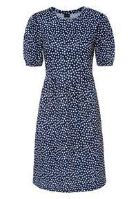 Sukienka z dżerseju z nadrukiem bonprix ciemnoniebieski w kropki. Kolor: niebieski. Materiał: jersey. Wzór: kropki, nadruk