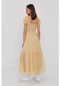 Żółta sukienka Billabong z krótkim rękawem, prosta, na co dzień, casualowa
