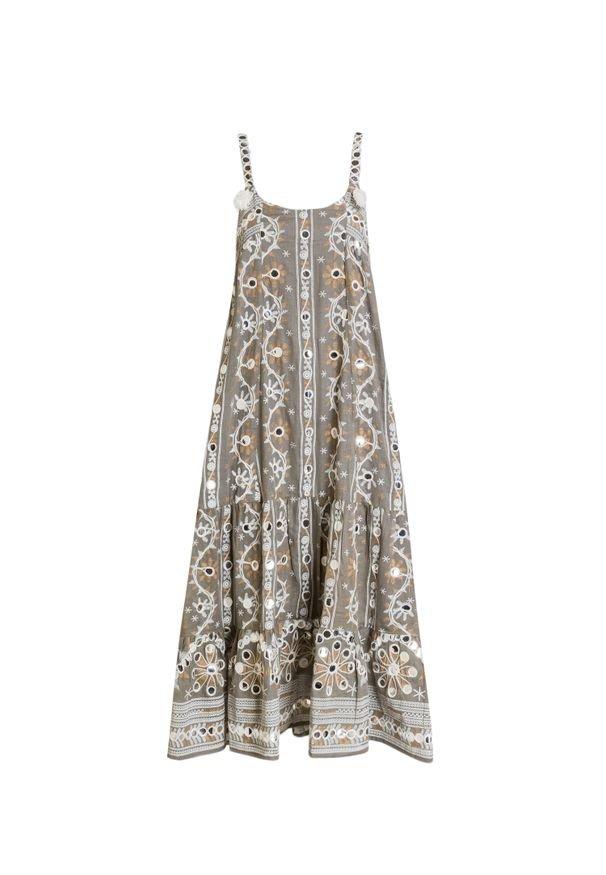 Sukienka Juliet Dunn na lato, na ramiączkach, midi, z haftami