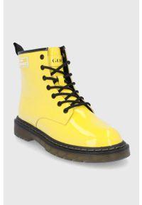 GOE - Botki skórzane. Nosek buta: okrągły. Zapięcie: sznurówki. Kolor: żółty. Materiał: skóra