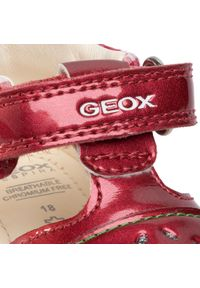 Czerwone półbuty Geox na rzepy, z cholewką