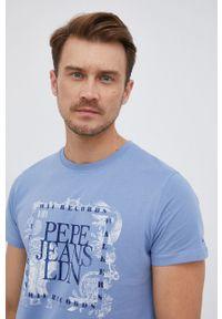 Pepe Jeans - T-shirt bawełniany Steve. Okazja: na co dzień. Kolor: niebieski. Materiał: bawełna. Wzór: nadruk. Styl: casual