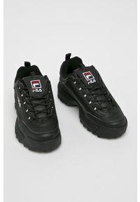 Czarne sneakersy Fila na platformie, z cholewką, na sznurówki