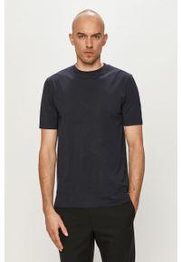 Niebieski t-shirt Scotch & Soda gładki, na co dzień, casualowy