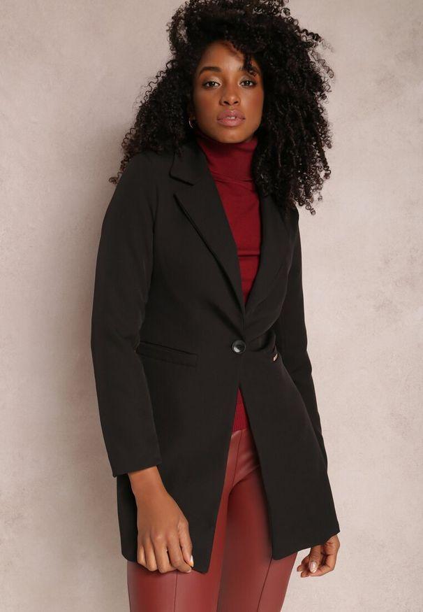 Renee - Czarna Marynarka Iseope. Kolor: czarny. Materiał: tkanina. Długość: długie. Wzór: jednolity. Styl: elegancki