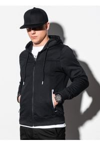 Ombre Clothing - Bluza męska rozpinana z kapturem B1073 - czarna - XL. Typ kołnierza: kaptur. Kolor: czarny. Materiał: bawełna, poliester, materiał