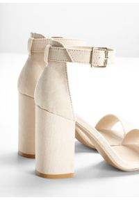 Beżowe sandały bonprix z paskami