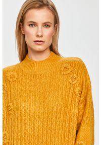 Pomarańczowy sweter Desigual z długim rękawem, długi