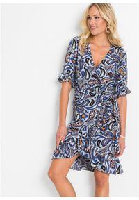 Niebieska sukienka bonprix kopertowa