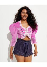 ISABEL MARANT - Krótka kurtka z haftem Cidela. Kolor: różowy, fioletowy, wielokolorowy. Materiał: bawełna. Długość: krótkie. Wzór: haft
