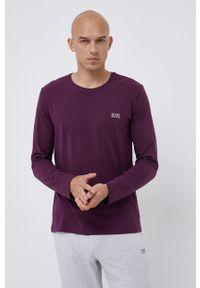 BOSS - Boss - Longsleeve. Kolor: fioletowy. Materiał: bawełna. Długość rękawa: długi rękaw. Wzór: aplikacja