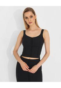 Pinko - PINKO - Czarny top na ramiączkach Kendo. Kolor: czarny. Materiał: jeans, materiał. Długość rękawa: na ramiączkach