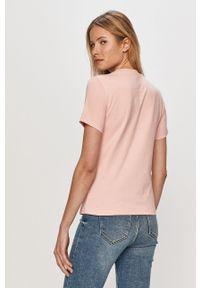 Różowa bluzka Champion casualowa, z nadrukiem, na co dzień