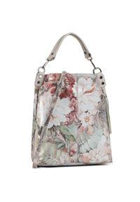 Szara torebka klasyczna Creole w kwiaty, na ramię