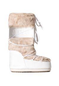 Beżowe buty zimowe Moon Boot boho, z cholewką, na zimę