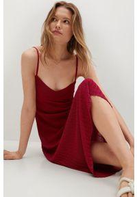 mango - Mango - Sukienka Baute. Kolor: czerwony. Materiał: dzianina, materiał. Długość rękawa: na ramiączkach. Typ sukienki: dopasowane