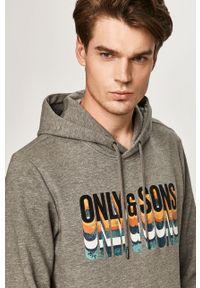 Szara bluza nierozpinana Only & Sons z kapturem, casualowa, na co dzień