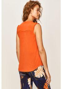 Pomarańczowa bluzka Pepe Jeans na co dzień, bez rękawów, casualowa